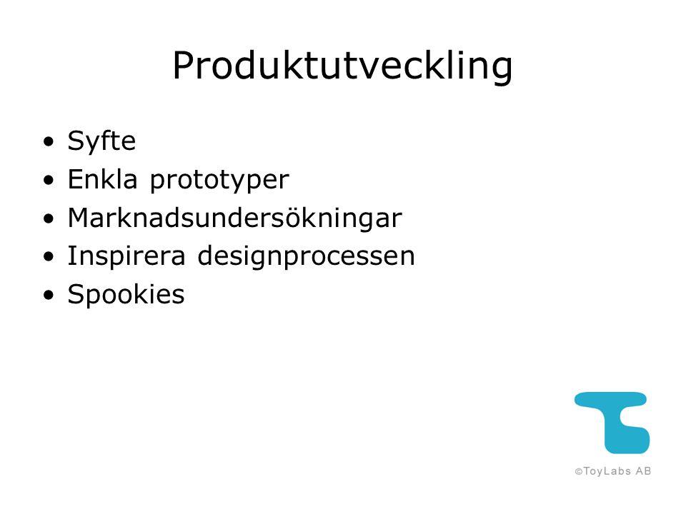 Produktutveckling Syfte Enkla prototyper Marknadsundersökningar Inspirera designprocessen Spookies