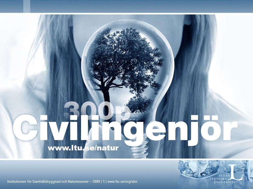 Institutionen för Samhällsbyggnad och Naturresurser – SBN | 12 | www.ltu.se/org/sbn Civilingenjör Industriell miljö och processteknik - IMP