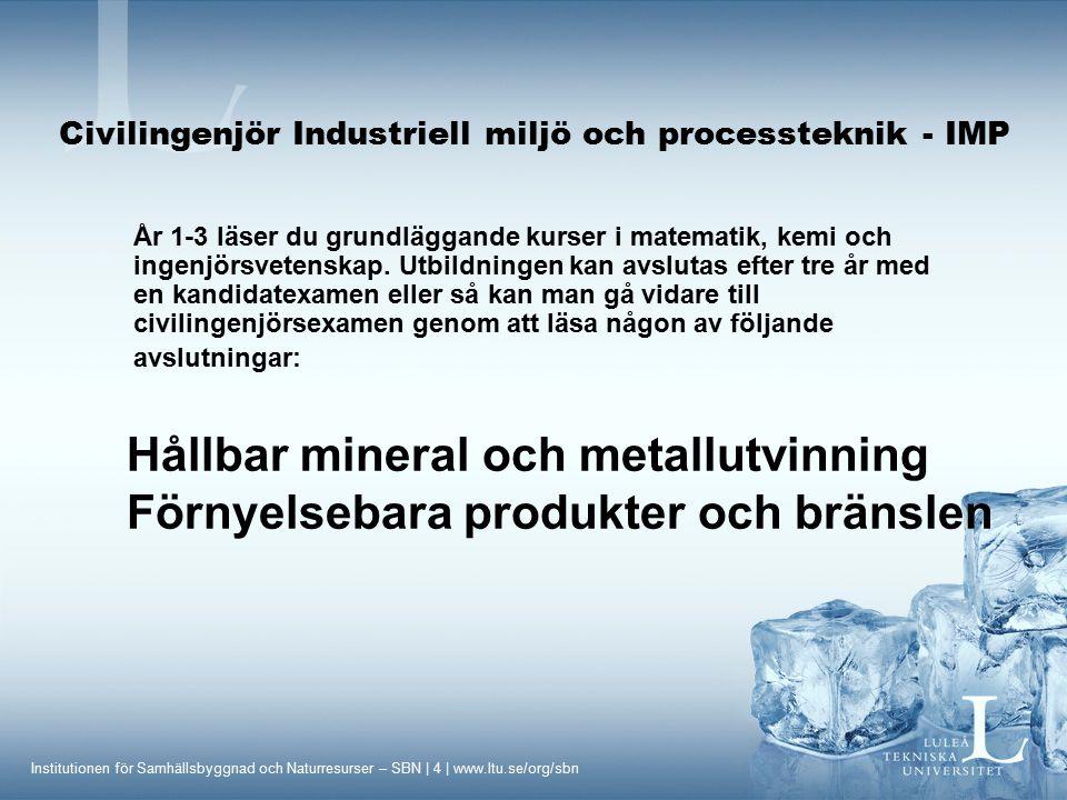 Institutionen för Samhällsbyggnad och Naturresurser – SBN | 15 | www.ltu.se/org/sbn Civilingenjör Industriell miljö och processteknik - IMP