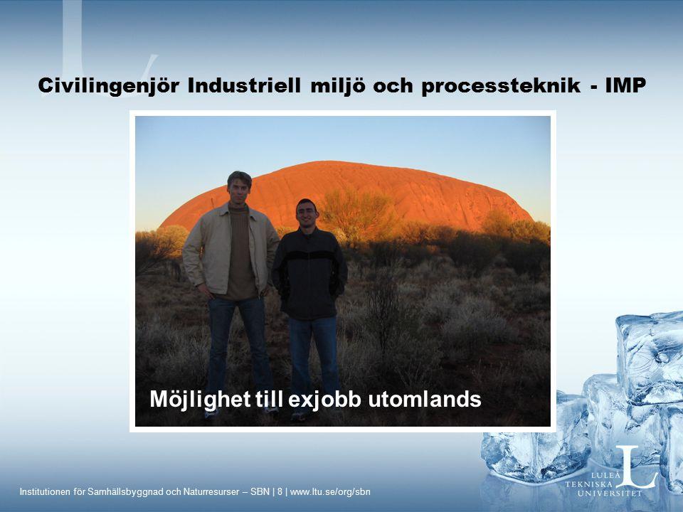 Institutionen för Samhällsbyggnad och Naturresurser – SBN | 9 | www.ltu.se/org/sbn Civilingenjör Industriell miljö och processteknik - IMP