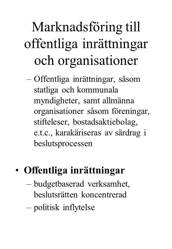 Marknadsföring till offentliga inrättningar och organisationer –Offentliga inrättningar, såsom statliga och kommunala myndigheter, samt allmänna organ
