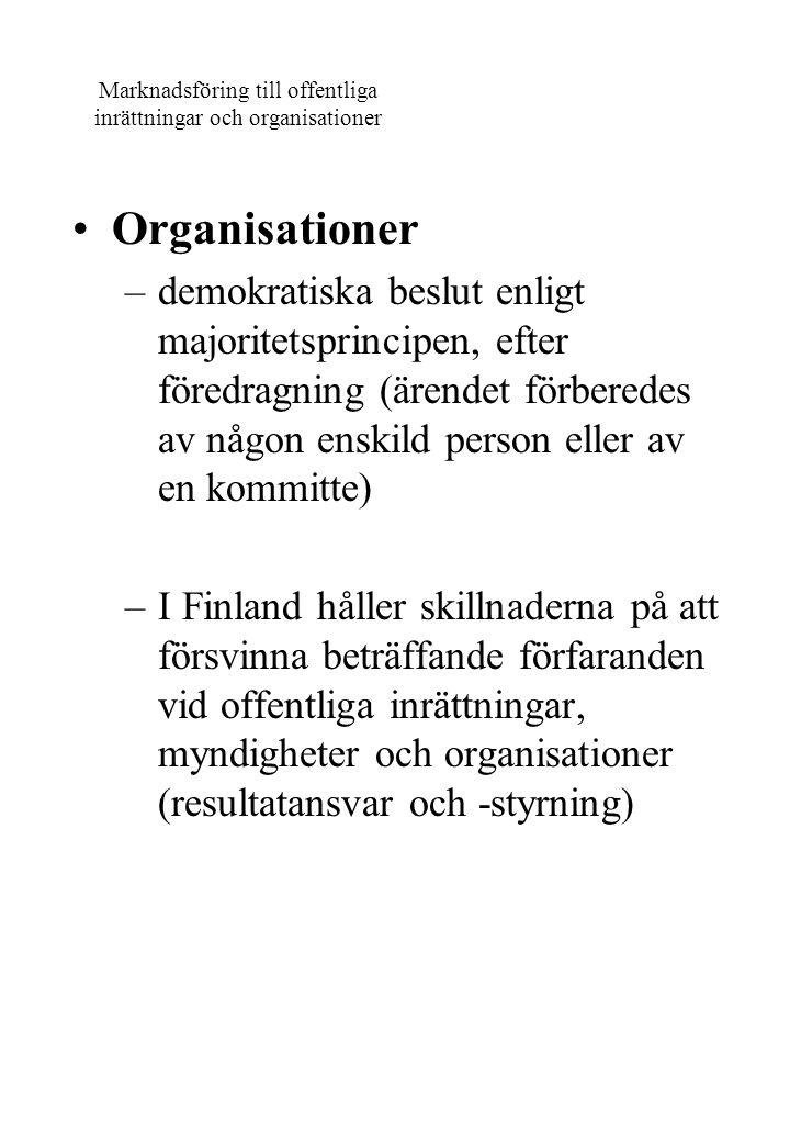Marknadsföring till offentliga inrättningar och organisationer Organisationer –demokratiska beslut enligt majoritetsprincipen, efter föredragning (äre
