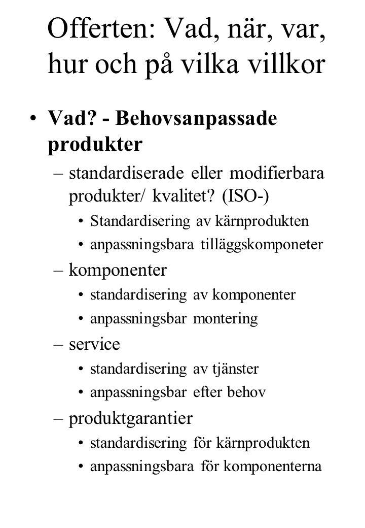 Offerten: Vad, när, var, hur och på vilka villkor Vad? - Behovsanpassade produkter –standardiserade eller modifierbara produkter/ kvalitet? (ISO-) Sta