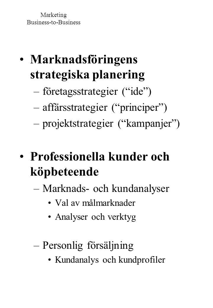 """Marknadsföringens strategiska planering –företagsstrategier (""""ide"""") –affärsstrategier (""""principer"""") –projektstrategier (""""kampanjer"""") Professionella ku"""