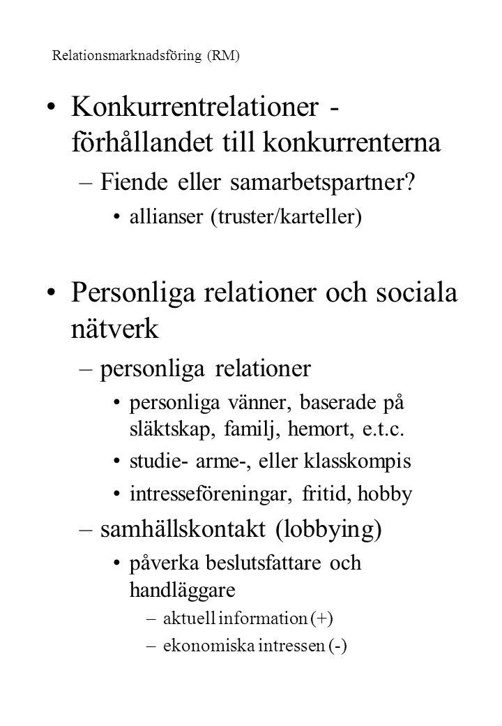 Konkurrentrelationer - förhållandet till konkurrenterna –Fiende eller samarbetspartner? allianser (truster/karteller) Personliga relationer och social