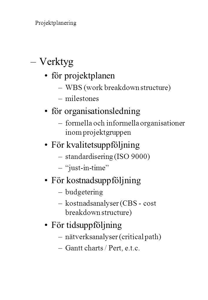 –Verktyg för projektplanen –WBS (work breakdown structure) –milestones för organisationsledning –formella och informella organisationer inom projektgr