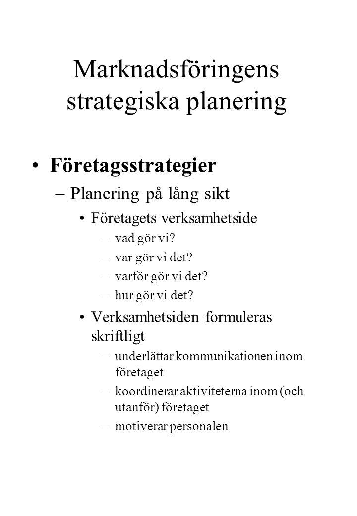 Marknadsföringens strategiska planering Företagsstrategier –Planering på lång sikt Företagets verksamhetside –vad gör vi? –var gör vi det? –varför gör