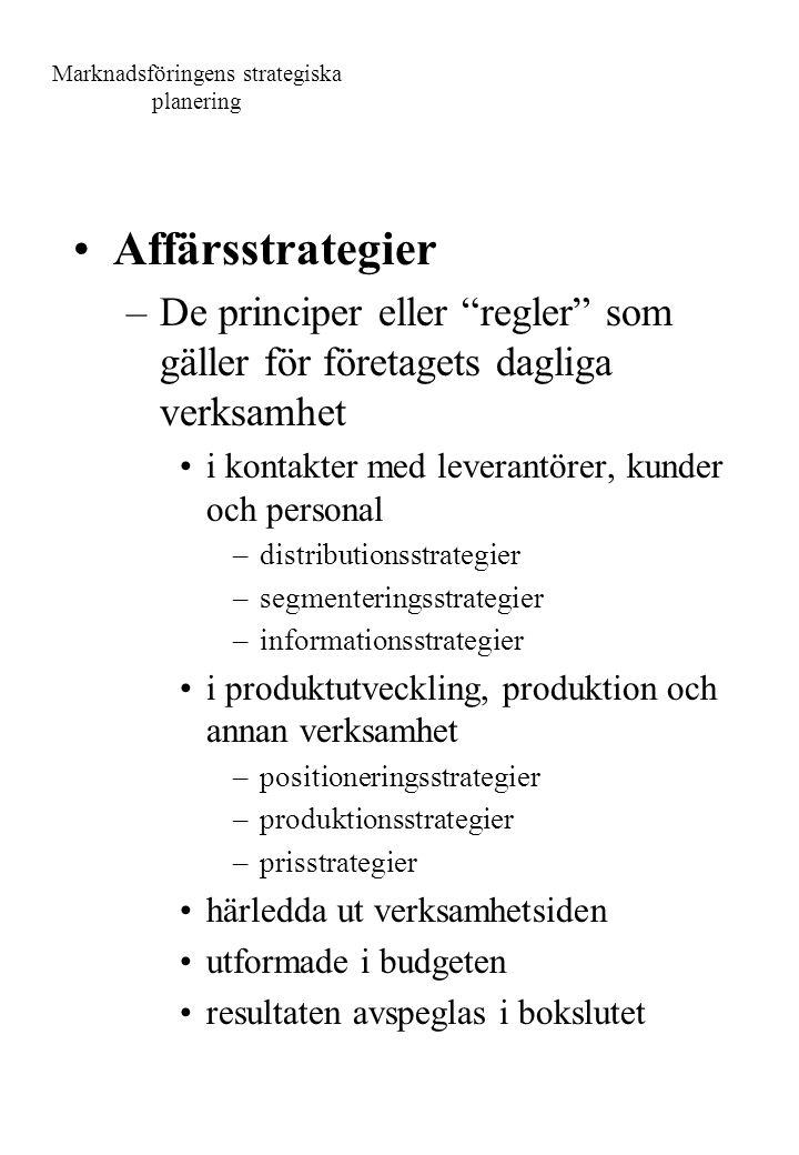 """Marknadsföringens strategiska planering Affärsstrategier –De principer eller """"regler"""" som gäller för företagets dagliga verksamhet i kontakter med lev"""