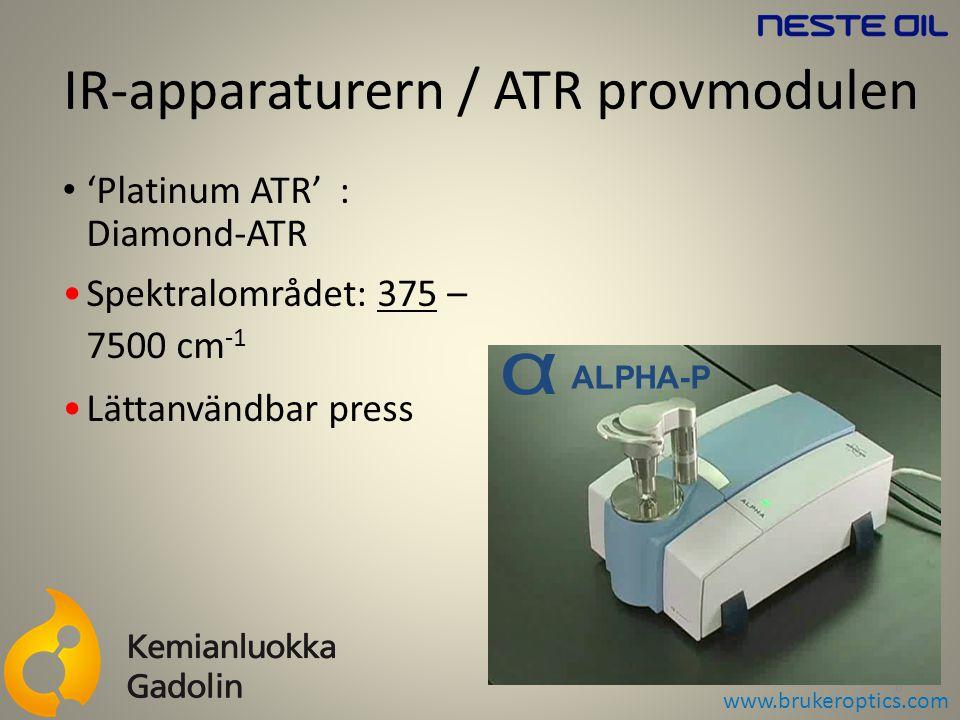 IR-apparaturern / ATR provmodulen 6 'Platinum ATR' : Diamond-ATR Spektralområdet: 375 – 7500 cm -1 Lättanvändbar press ALPHA-P www.brukeroptics.com
