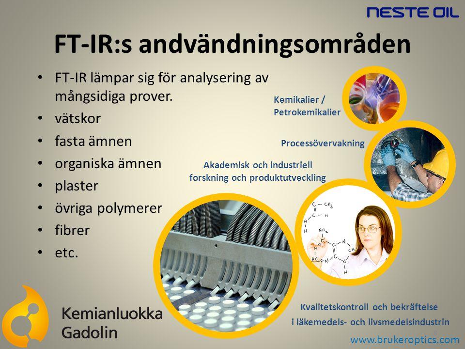 FT-IR lämpar sig för analysering av mångsidiga prover. vätskor fasta ämnen organiska ämnen plaster övriga polymerer fibrer etc. FT-IR:s andvändningsom
