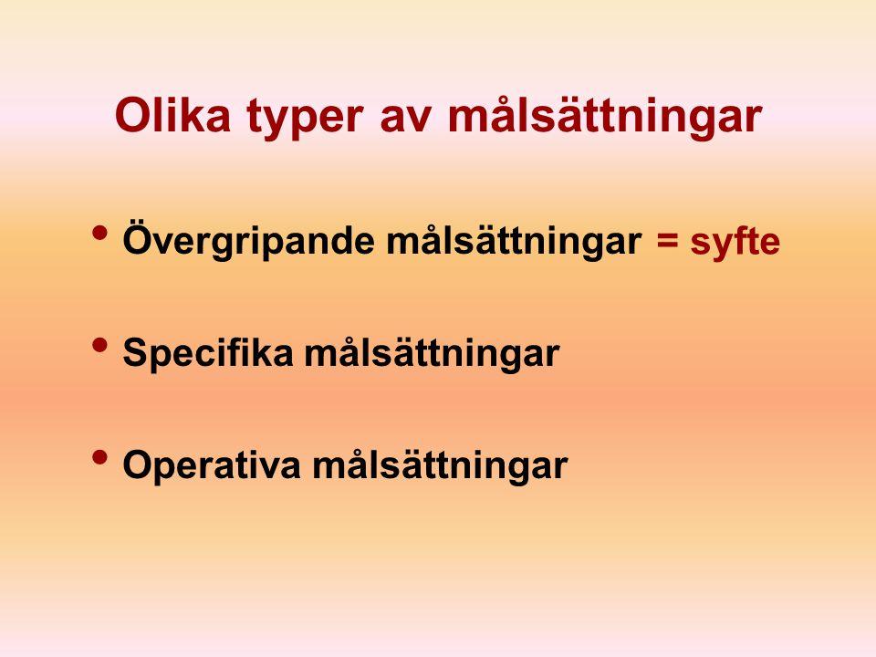 Olika typer av målsättningar Övergripande målsättningar Specifika målsättningar Operativa målsättningar = syfte