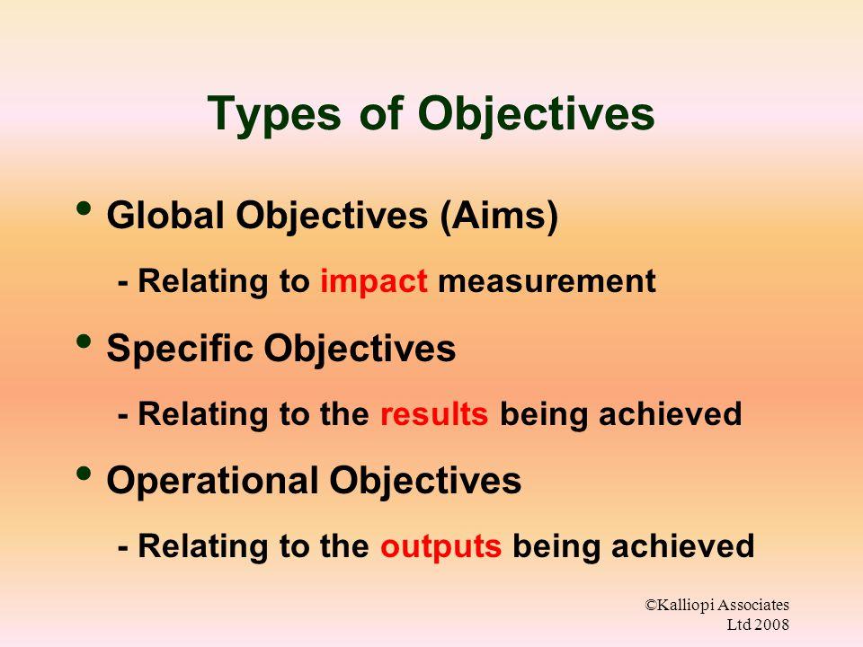 ©Kalliopi Associates Ltd 2008 Types of Objectives Global Objectives (Aims) - Relating to impact measurement Specific Objectives - Relating to the results being achieved Operational Objectives - Relating to the outputs being achieved