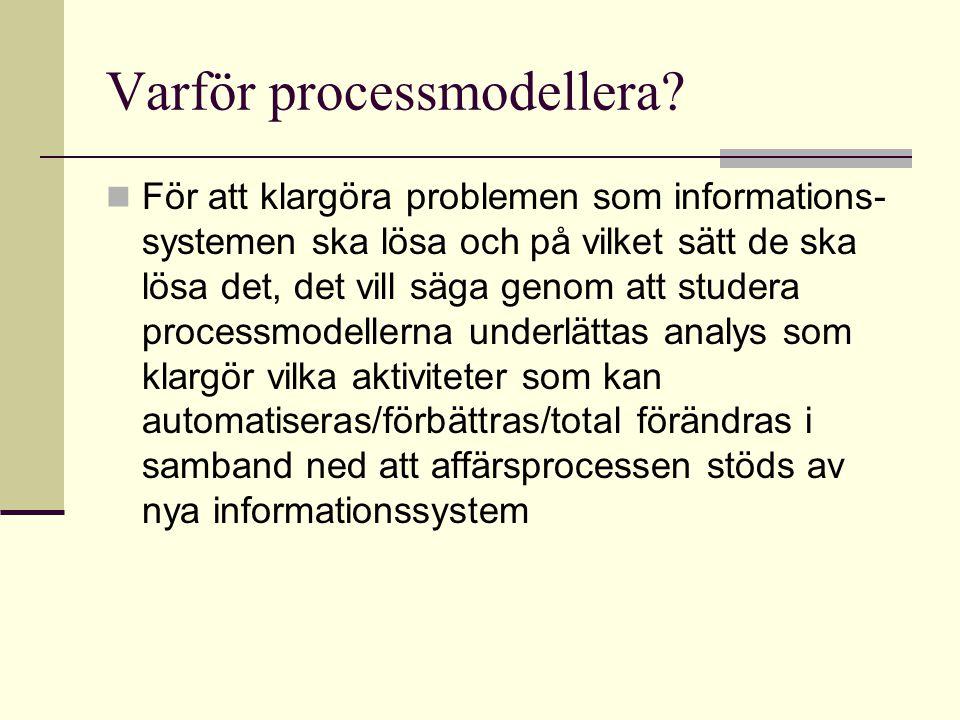 Varför processmodellera? För att klargöra problemen som informations- systemen ska lösa och på vilket sätt de ska lösa det, det vill säga genom att st