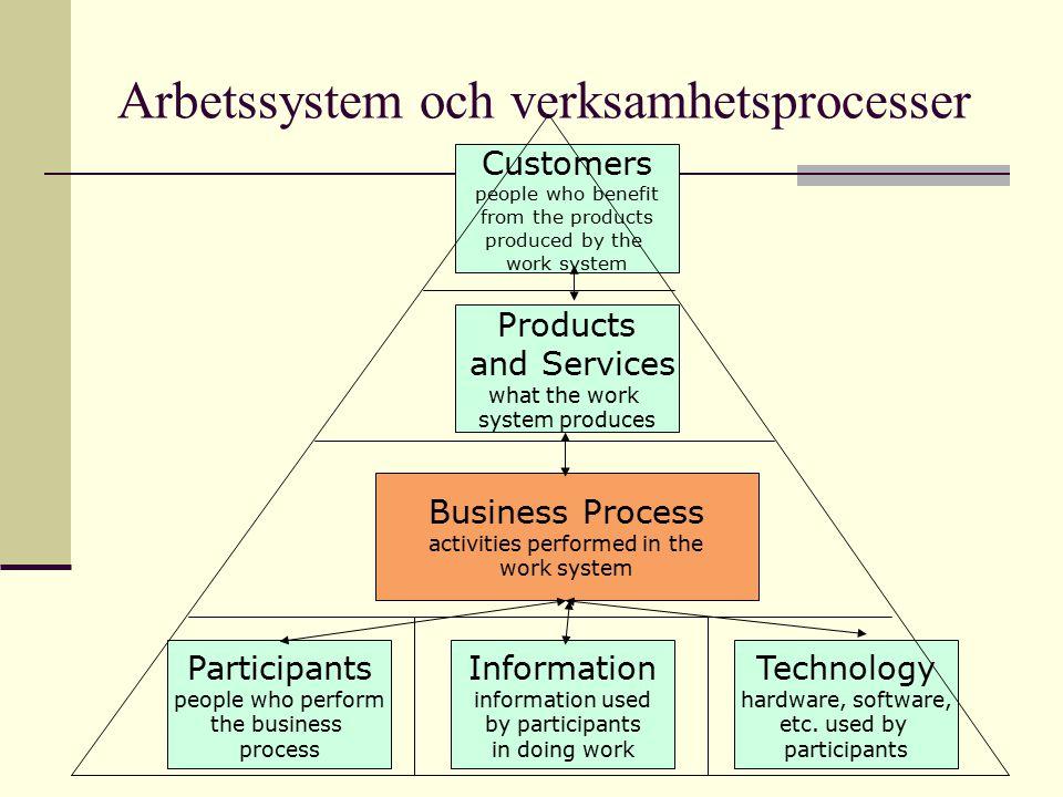Arbetssystem och verksamhetsprocesser Participants people who perform the business process Information information used by participants in doing work