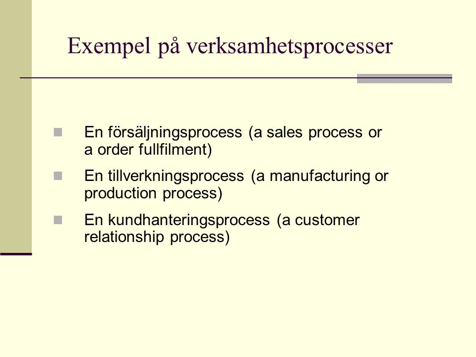 En modell av en försäljningsprocess Purchase Market Order Handling & Customer service Production & Warehouse Management Shipment & Quality check Customers Vendors Receive order Get products in warehouse Manufacture Quality check Packing Shiping