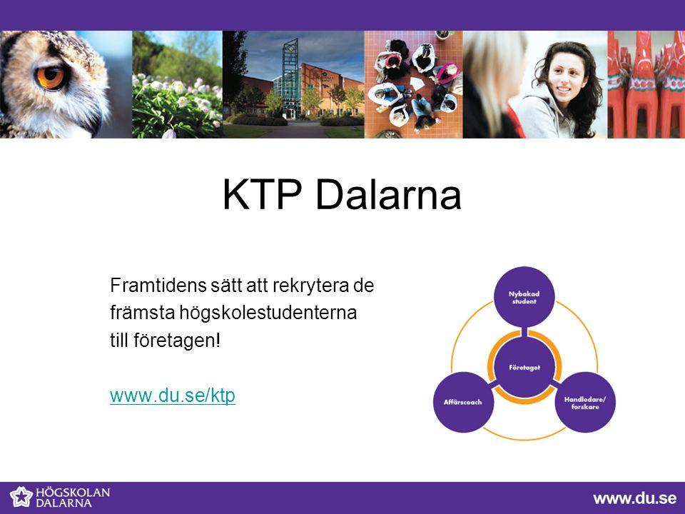 KTP Dalarna Framtidens sätt att rekrytera de främsta högskolestudenterna till företagen! www.du.se/ktp