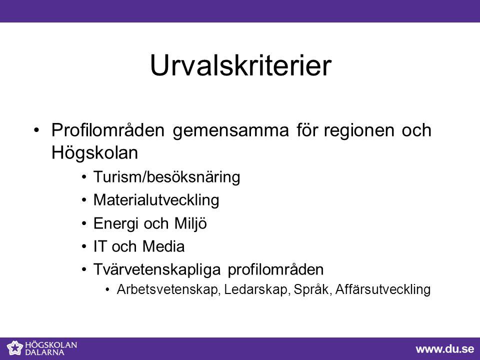 Urvalskriterier Profilområden gemensamma för regionen och Högskolan Turism/besöksnäring Materialutveckling Energi och Miljö IT och Media Tvärvetenskap