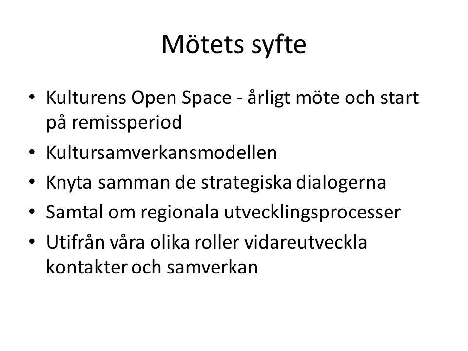 Mötets syfte Kulturens Open Space - årligt möte och start på remissperiod Kultursamverkansmodellen Knyta samman de strategiska dialogerna Samtal om regionala utvecklingsprocesser Utifrån våra olika roller vidareutveckla kontakter och samverkan