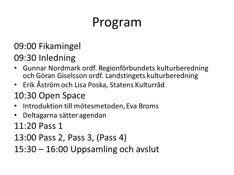 Program 09:00 Fikamingel 09:30 Inledning Gunnar Nordmark ordf. Regionförbundets kulturberedning och Göran Giselsson ordf. Landstingets kulturberedning