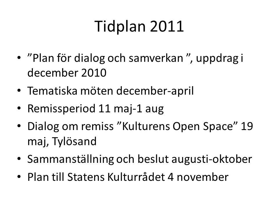 """Tidplan 2011 """"Plan för dialog och samverkan """", uppdrag i december 2010 Tematiska möten december-april Remissperiod 11 maj-1 aug Dialog om remiss """"Kult"""