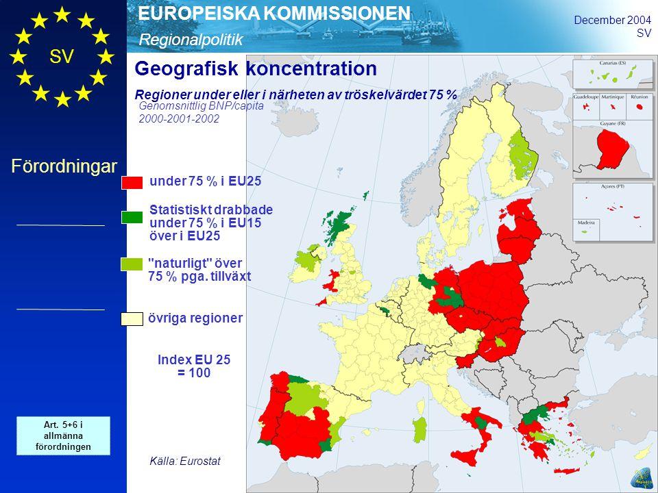 Regionalpolitik EUROPEISKA KOMMISSIONEN December 2004 SV Förordningar under 75 % i EU25 Statistiskt drabbade under 75 % i EU15 över i EU25 naturligt över 75 % pga.