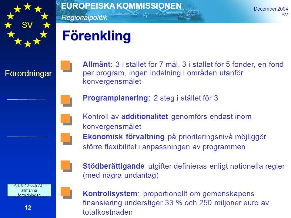 Regionalpolitik EUROPEISKA KOMMISSIONEN December 2004 SV Förordningar 12 Förenkling Allmänt: 3 i stället för 7 mål, 3 i stället för 5 fonder, en fond per program, ingen indelning i områden utanför konvergensmålet Programplanering: 2 steg i stället för 3 Kontroll av additionalitet genomförs endast inom konvergensmålet Ekonomisk förvaltning på prioriteringsnivå möjliggör större flexibilitet i anpassningen av programmen Stödberättigande utgifter definieras enligt nationella regler (med några undantag) Kontrollsystem: proportionellt om gemenskapens finansiering understiger 33 % och 250 miljoner euro av totalkostnaden Art.
