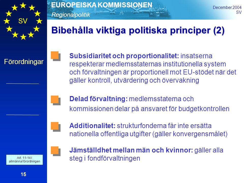 Regionalpolitik EUROPEISKA KOMMISSIONEN December 2004 SV Förordningar 15 Bibehålla viktiga politiska principer (2) Subsidiaritet och proportionalitet: insatserna respekterar medlemsstaternas institutionella system och förvaltningen är proportionell mot EU-stödet när det gäller kontroll, utvärdering och övervakning Delad förvaltning: medlemsstaterna och kommissionen delar på ansvaret för budgetkontrollen Additionalitet: strukturfonderna får inte ersätta nationella offentliga utgifter (gäller konvergensmålet) Jämställdhet mellan män och kvinnor: gäller alla steg i fondförvaltningen Art.