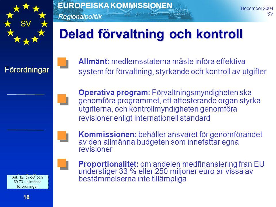 Regionalpolitik EUROPEISKA KOMMISSIONEN December 2004 SV Förordningar 18 Delad förvaltning och kontroll Art.