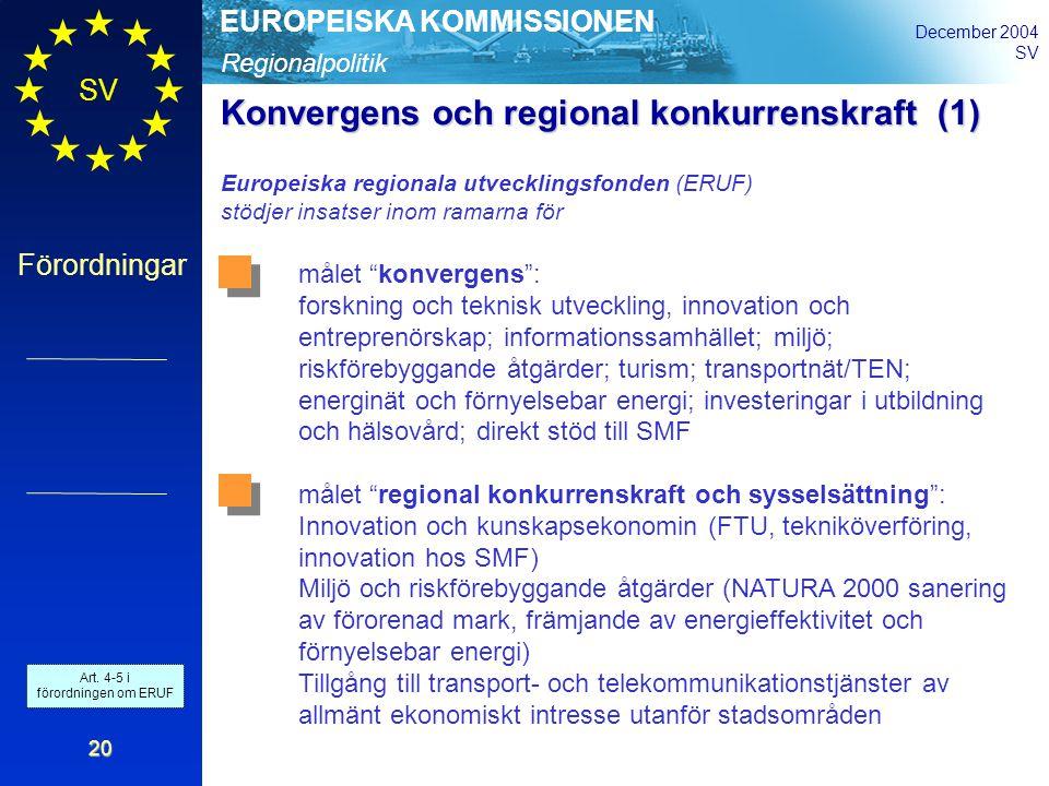 Regionalpolitik EUROPEISKA KOMMISSIONEN December 2004 SV Förordningar 20 Konvergens och regional konkurrenskraft(1) Konvergens och regional konkurrenskraft (1) Europeiska regionala utvecklingsfonden (ERUF) stödjer insatser inom ramarna för målet konvergens : forskning och teknisk utveckling, innovation och entreprenörskap; informationssamhället; miljö; riskförebyggande åtgärder; turism; transportnät/TEN; energinät och förnyelsebar energi; investeringar i utbildning och hälsovård; direkt stöd till SMF målet regional konkurrenskraft och sysselsättning : Innovation och kunskapsekonomin (FTU, tekniköverföring, innovation hos SMF) Miljö och riskförebyggande åtgärder (NATURA 2000 sanering av förorenad mark, främjande av energieffektivitet och förnyelsebar energi) Tillgång till transport- och telekommunikationstjänster av allmänt ekonomiskt intresse utanför stadsområden Art.