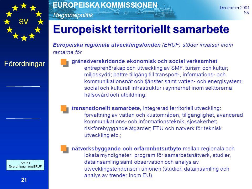Regionalpolitik EUROPEISKA KOMMISSIONEN December 2004 SV Förordningar 21 gränsöverskridande ekonomisk och social verksamhet entreprenörskap och utveckling av SMF, turism och kultur; miljöskydd; bättre tillgång till transport-, informations- och kommunikationsnät och tjänster samt vatten- och energisystem; social och kulturell infrastruktur i synnerhet inom sektorerna hälsovård och utbildning; transnationellt samarbete, integrerad territoriell utveckling: förvaltning av vatten och kustområden, tillgänglighet, avancerad kommunikations- och informationsteknik; sjösäkerhet; riskförebyggande åtgärder; FTU och nätverk för teknisk utveckling etc.; nätverksbyggande och erfarenhetsutbyte mellan regionala och lokala myndigheter: program för samarbetsnätverk, studier, datainsamling samt observation och analys av utvecklingstendenser i unionen (studier, datainsamling och analys av trender inom EU).