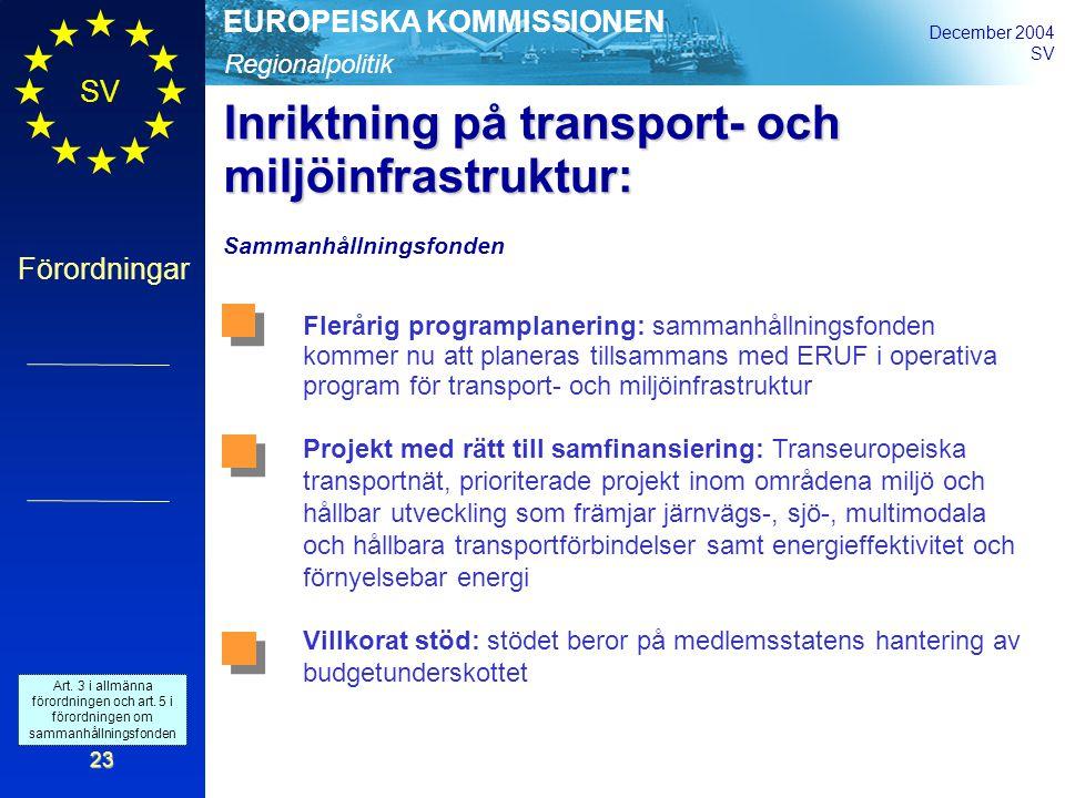 Regionalpolitik EUROPEISKA KOMMISSIONEN December 2004 SV Förordningar 23 Inriktning på transport- och miljöinfrastruktur: Sammanhållningsfonden Flerårig programplanering: sammanhållningsfonden kommer nu att planeras tillsammans med ERUF i operativa program för transport- och miljöinfrastruktur Projekt med rätt till samfinansiering: Transeuropeiska transportnät, prioriterade projekt inom områdena miljö och hållbar utveckling som främjar järnvägs-, sjö-, multimodala och hållbara transportförbindelser samt energieffektivitet och förnyelsebar energi Villkorat stöd: stödet beror på medlemsstatens hantering av budgetunderskottet Art.