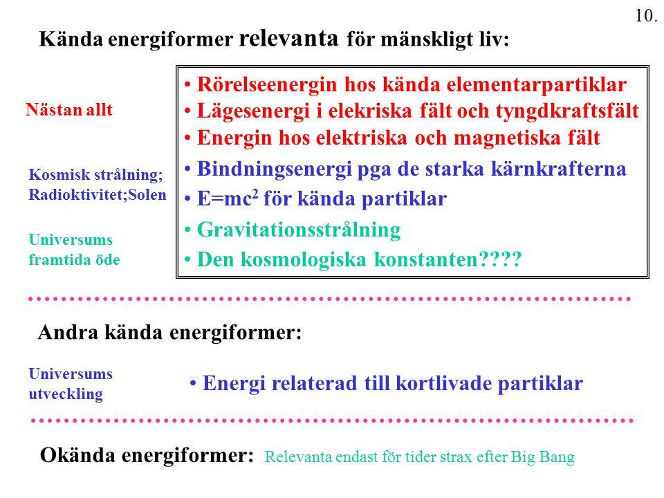 10. Kända energiformer relevanta för mänskligt liv: Rörelseenergin hos kända elementarpartiklar Lägesenergi i elekriska fält och tyngdkraftsfält Energ