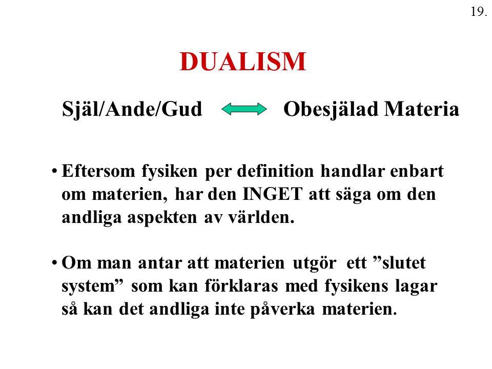 19. DUALISM Själ/Ande/Gud Obesjälad Materia Eftersom fysiken per definition handlar enbart om materien, har den INGET att säga om den andliga aspekten