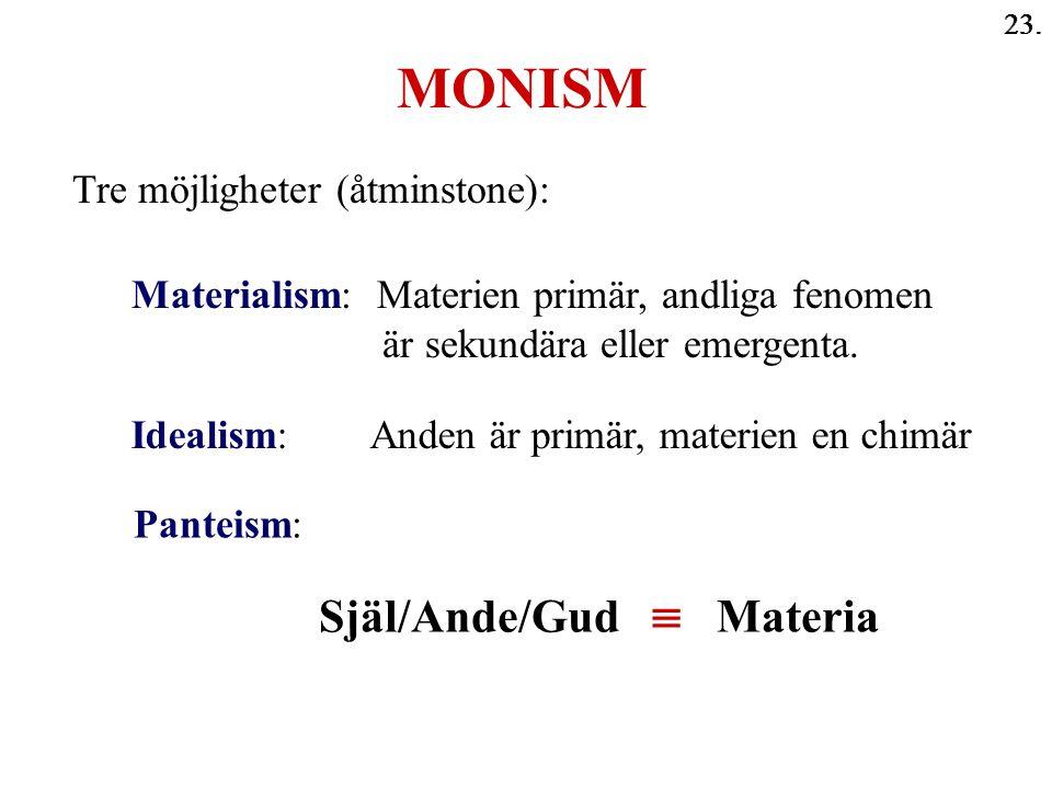 23. MONISM Själ/Ande/Gud  Materia Tre möjligheter (åtminstone): Materialism: Materien primär, andliga fenomen är sekundära eller emergenta. Idealism: