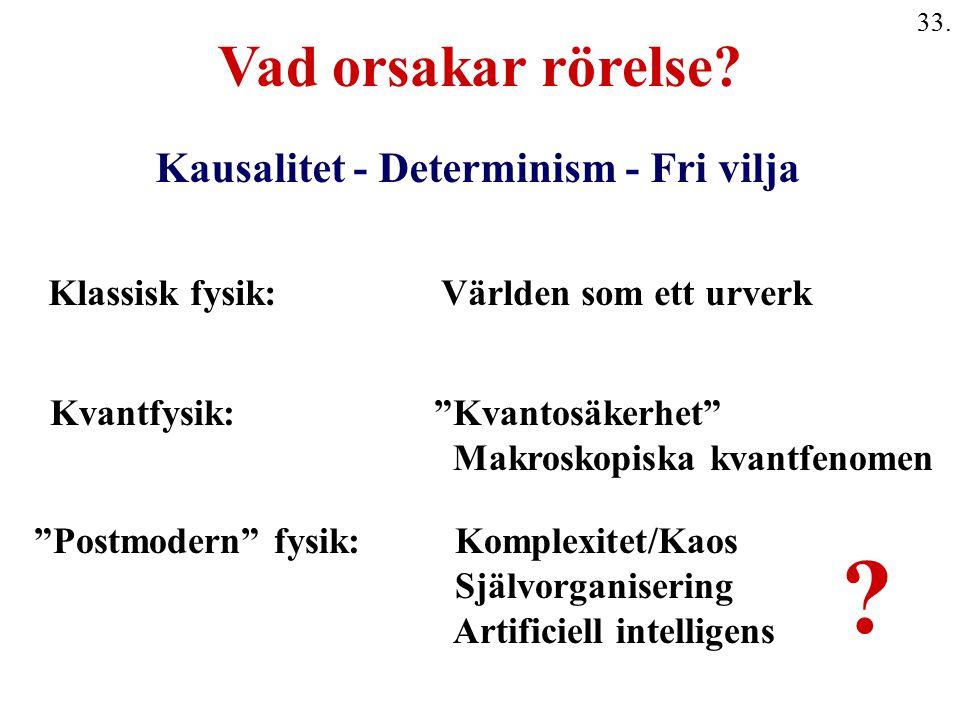 """33. Kausalitet - Determinism - Fri vilja Klassisk fysik: Världen som ett urverk Kvantfysik:""""Kvantosäkerhet"""" Makroskopiska kvantfenomen """"Postmodern"""" fy"""