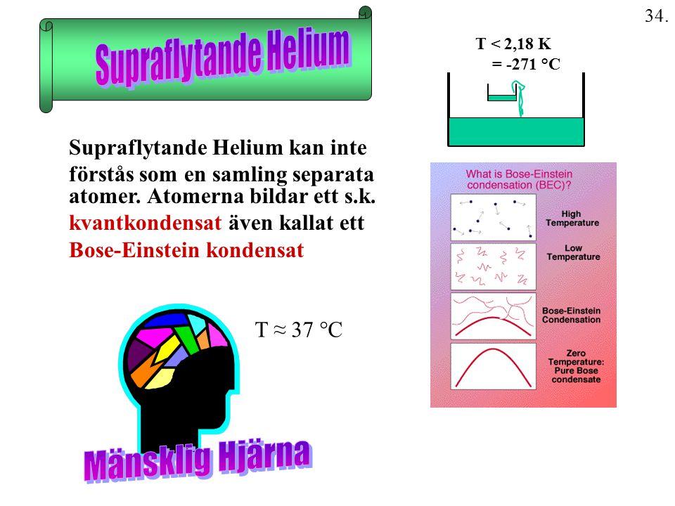 34. Supraflytande Helium kan inte förstås som en samling separata atomer. Atomerna bildar ett s.k. kvantkondensat även kallat ett Bose-Einstein konden