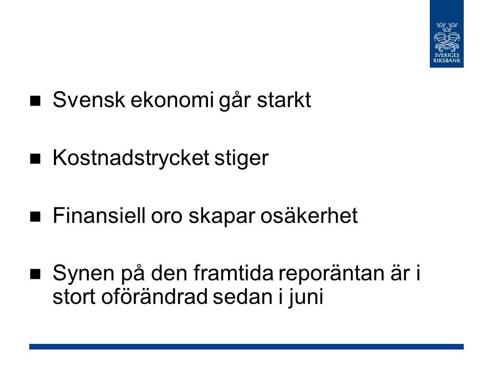 Svensk ekonomi går starkt Kostnadstrycket stiger Finansiell oro skapar osäkerhet Synen på den framtida reporäntan är i stort oförändrad sedan i juni