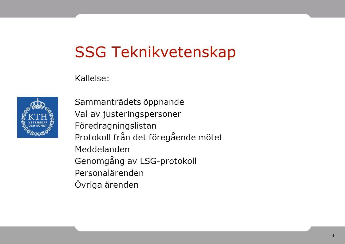 4 SSG Teknikvetenskap Kallelse: Sammanträdets öppnande Val av justeringspersoner Föredragningslistan Protokoll från det föregående mötet Meddelanden Genomgång av LSG-protokoll Personalärenden Övriga ärenden