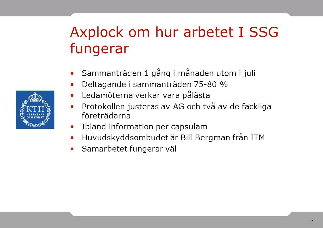 6 Axplock om hur arbetet I SSG fungerar Sammanträden 1 gång i månaden utom i juli Deltagande i sammanträden 75-80 % Ledamöterna verkar vara pålästa Protokollen justeras av AG och två av de fackliga företrädarna Ibland information per capsulam Huvudskyddsombudet är Bill Bergman från ITM Samarbetet fungerar väl