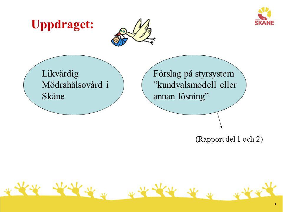 4 Förslag på styrsystem kundvalsmodell eller annan lösning Likvärdig Mödrahälsovård i Skåne Uppdraget: (Rapport del 1 och 2)