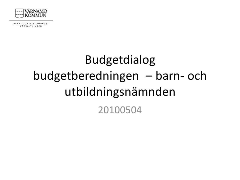 Budgetdialog budgetberedningen – barn- och utbildningsnämnden 20100504