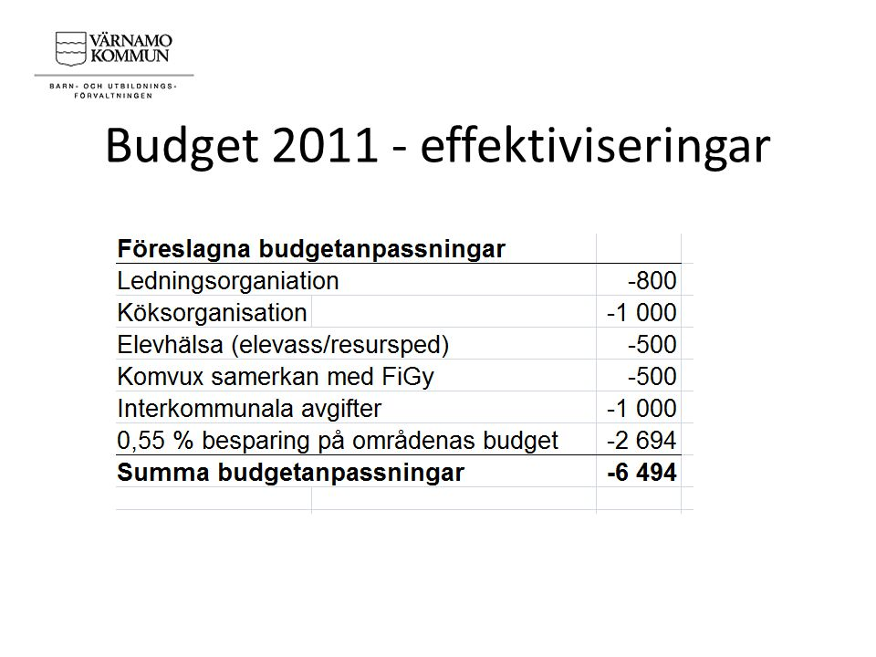 Budget 2011 - effektiviseringar
