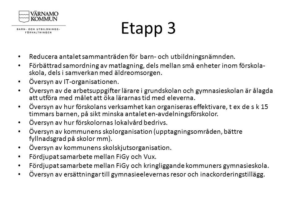 Etapp 3 Reducera antalet sammanträden för barn- och utbildningsnämnden. Förbättrad samordning av matlagning, dels mellan små enheter inom förskola- sk