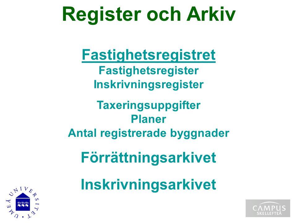 Register och Arkiv Fastighetsregistret Fastighetsregistret Fastighetsregister Inskrivningsregister Taxeringsuppgifter Planer Antal registrerade byggna
