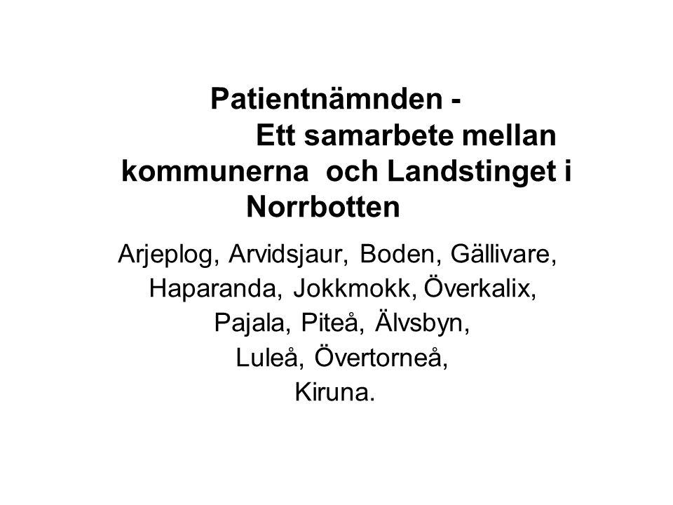 Patientnämnden - Ett samarbete mellan kommunerna och Landstinget i Norrbotten Arjeplog, Arvidsjaur, Boden, Gällivare, Haparanda, Jokkmokk, Överkalix,