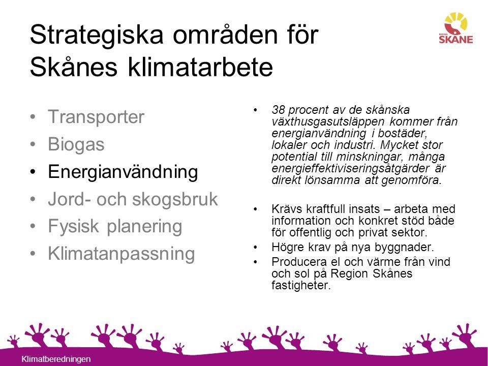 13 Klimatberedningen Strategiska områden för Skånes klimatarbete 38 procent av de skånska växthusgasutsläppen kommer från energianvändning i bostäder,