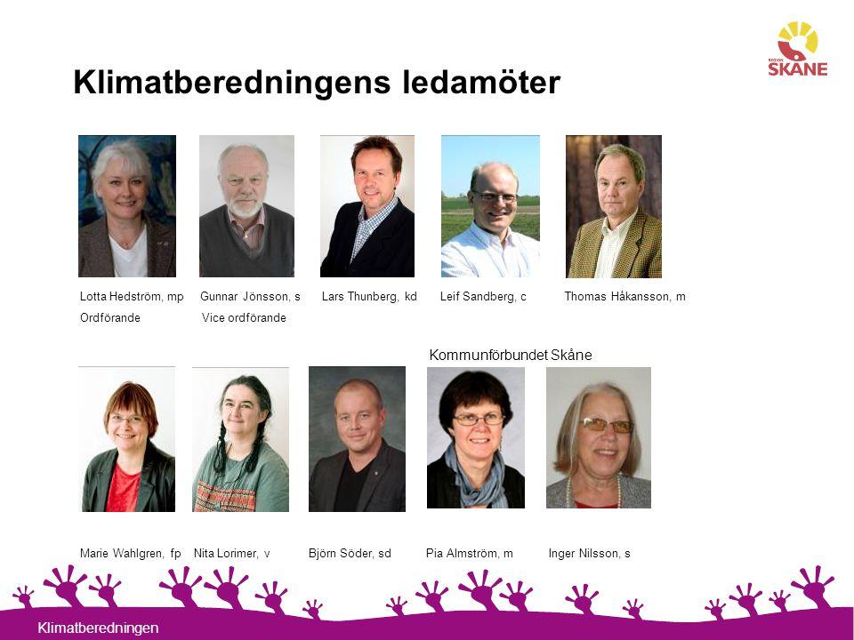 3 Klimatberedningen Klimatberedningens ledamöter Lotta Hedström, mp Gunnar Jönsson, s Lars Thunberg, kd Leif Sandberg, c Thomas Håkansson, m Ordförand