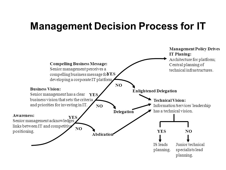 Management Decision Process for IT Compelling Business Message: Senior management perceives a compelling business message for developing a corporate I