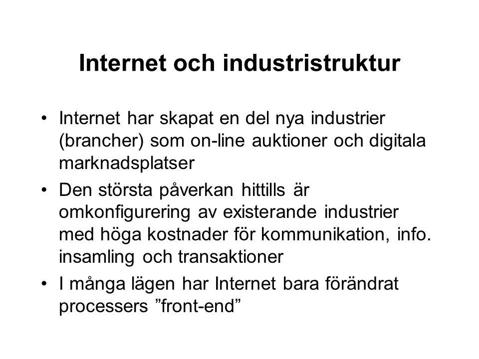 Internet och industristruktur Internet har skapat en del nya industrier (brancher) som on-line auktioner och digitala marknadsplatser Den största påve