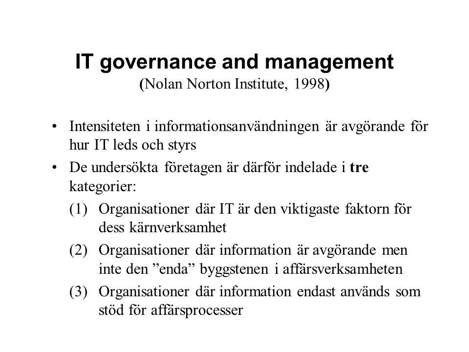 IT governance and management (Nolan Norton Institute, 1998) Intensiteten i informationsanvändningen är avgörande för hur IT leds och styrs De undersök